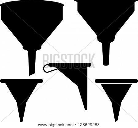 Funnel Icon Set raster Illustration