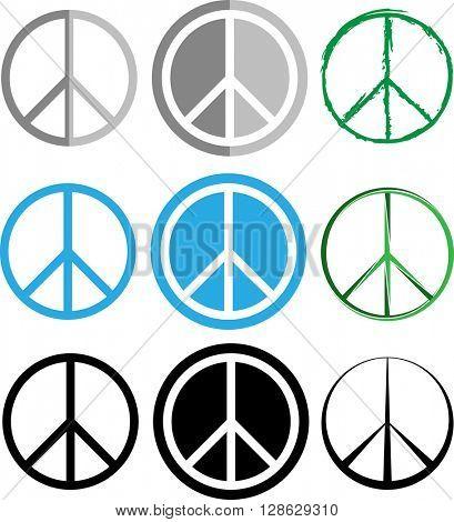 Peace Icon Set raster Illustration