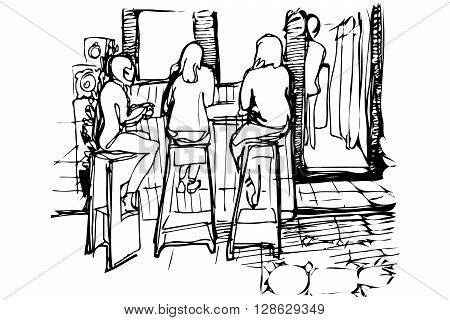 black and white vector sketch of three women on the high stools drinking coffee