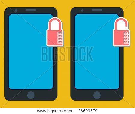 Smartphone Lock Unlock raster Illustration