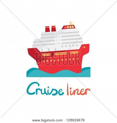 Cruise ship, ocean liner in water. Vector illustration flat design. Boat for cruises in cartoon style