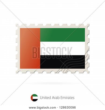 Postage Stamp With The Image Of United Arab Emirates Flag.