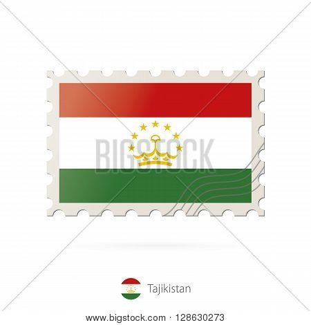 Postage Stamp With The Image Of Tajikistan Flag.