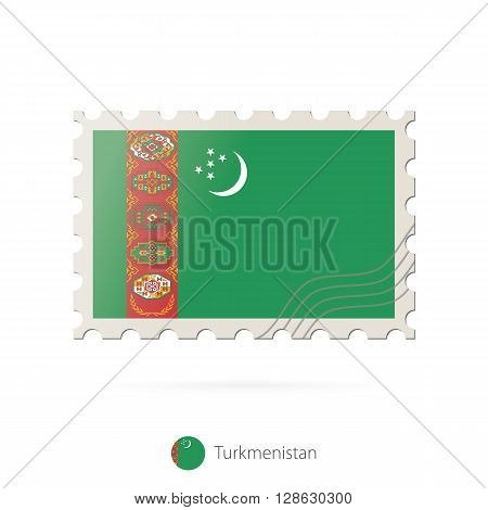 Postage Stamp With The Image Of Turkmenistan Flag.