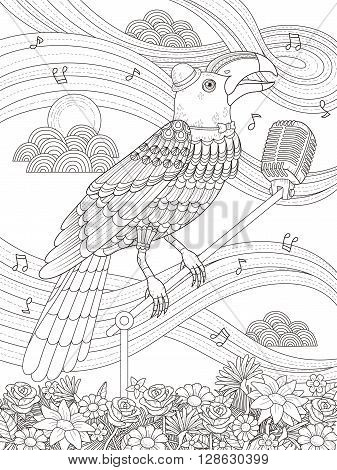 adult coloring page - toucan stand on the microphone and sing