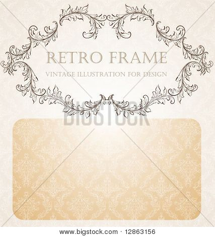 Abstract pattern for design. Floral retro elements for background. Vintage frame with seamless background and place for text