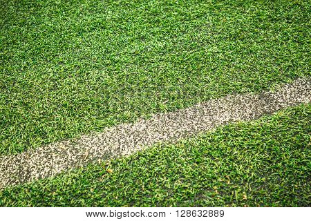 Closeup shot to a football field with delimitation line in it and alot of grass
