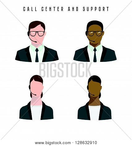 Set of icons Male and female call center avatars with a headset in flat style.
