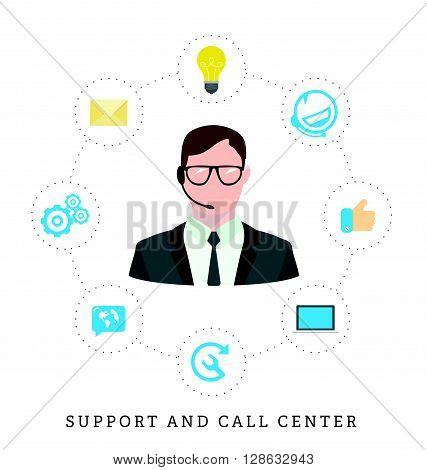 Icons for call center or hotline call center male operator support symbol in flat style.