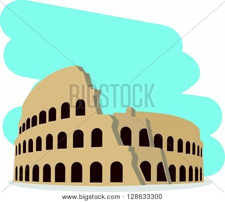 Coliseum isolated vector illustration. Architectural monument in flat style