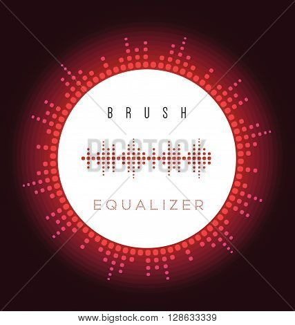 Vector digital fire red equalizer brush for radio image sound wave