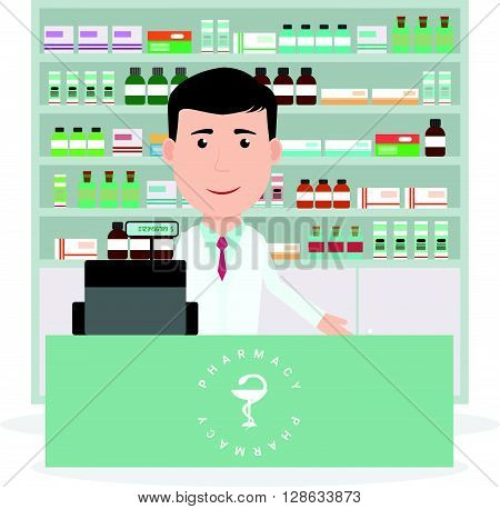 Modern flat vector illustration of a male pharmacist standing near cash register and showing medicine description at the counter in a pharmacy opposite the shelves with medicines. Health care. Vector illustration.