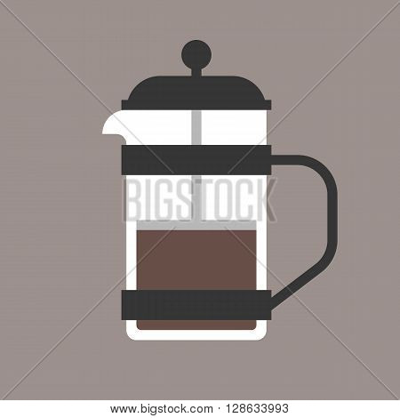 vector french press, flat design on clear background