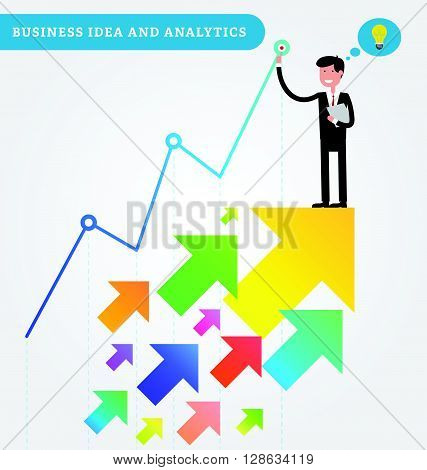 Successful young businessman holds documents in his hand and stays on the top of a growing chart. Growth with arrows rise up. Vector illustration in flat style. Business idea and analytics.