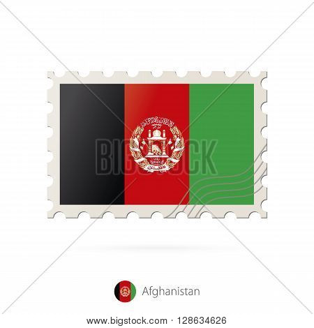 Postage Stamp With The Image Of Afghanistan Flag.