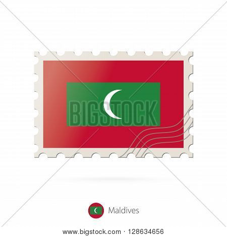 Postage Stamp With The Image Of Maldives Flag.