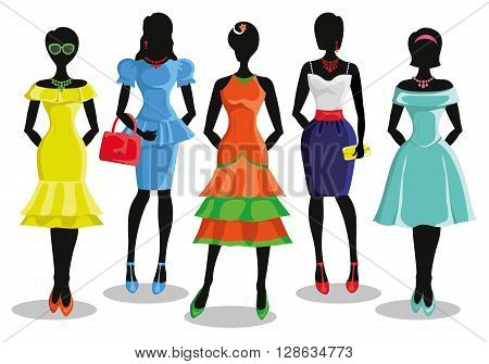 Fashion shopping girls illustration.Vector.Sale.Pretty woman in Colored  party dresses.Design template, background.Fashion wear and vector set. Christmas, shopping, retail, discount poster and Black friday