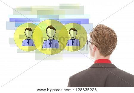 Young businessman looking at virtual friends isolated on white background
