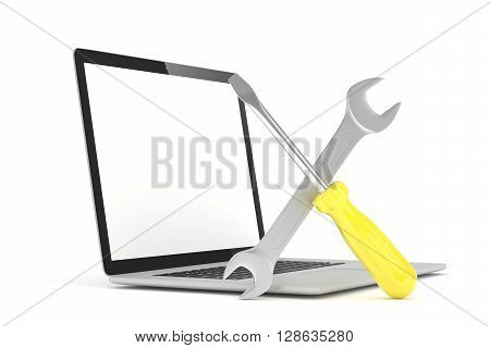 3D Illustration Wrench and screwdriver on laptop, service concept