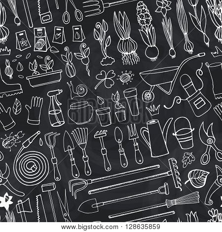 Spring garden seamless pattern.Hand drawn vector sketch elements flowers, bulbos, garden tool, bugs, boarding equipment.Gardening Outline icon on chalkboard background, spring symbols, vintage vector.