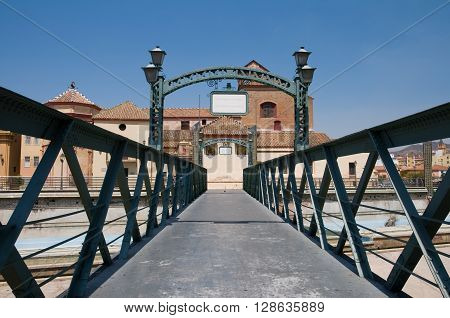 Perspective of Bridge Puente de Santo Domingo in Malaga Andalusia.