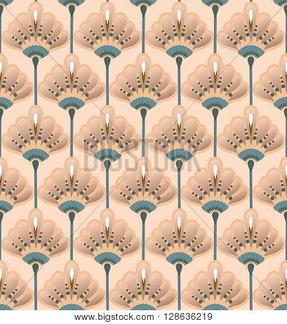Seamless Flower  Buttercup  Pattern. Summer background garden. Art deco style