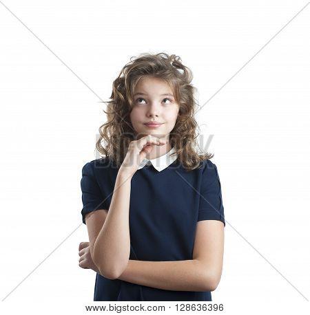Portrait Of Ten-year, Girl Facing Upward..