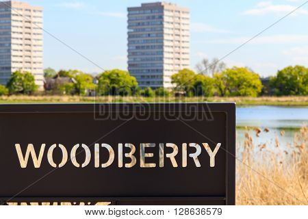 Sign for the newly-opened Woodberry wetlands nature reserve at Woodberry Down in London on a sunny day