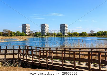 Newly-opened Woodberry wetlands nature reserve at Woodberry Down in London on a sunny day