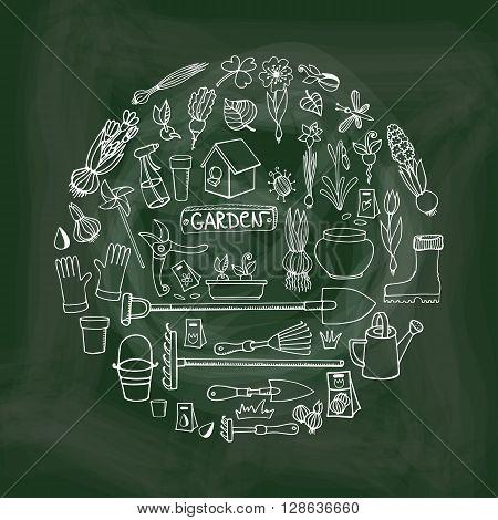 Spring garden.Hand drawn flowers, bulb, garden tool, boarding equipment in circle composition.Vector garden sketch.Chalkboard background.Spring Gardening , planting spring symbols, vintage vector