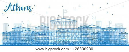 Outline Athens Skyline with Blue Buildings. Business and tourism concept with place for text. Image for presentation, banner, placard and web site