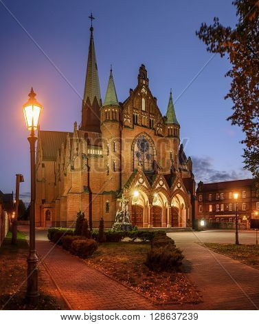 The Church of St. Joseph in Katowice in the evening. Poland Europe.