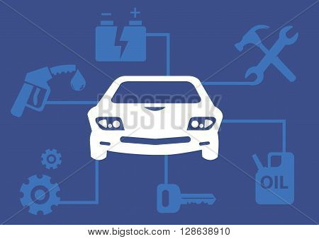 Vector illustration on vehicle maintenance concept with icons of car battery repair tools petrol gears and key linked to a car in the center.