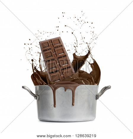 aluminum pan with hot liquid splash chocolate isolated on white