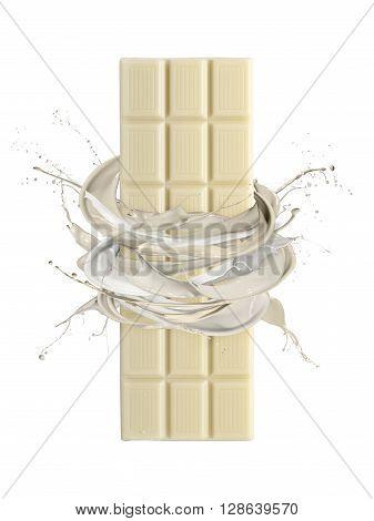 liquid splash white chocolate around stack of chocolate blocks isolated on white