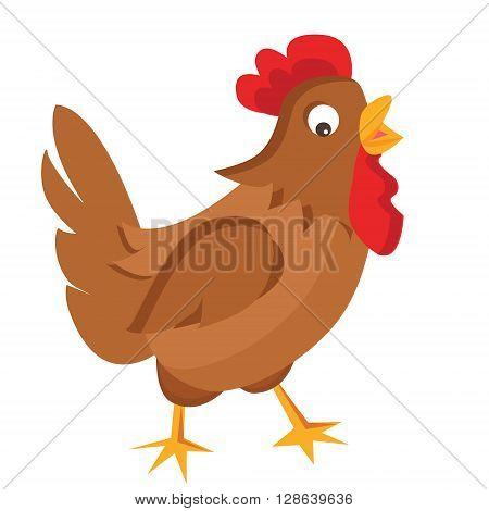 Hen vector illustration. Isolated hen on white background