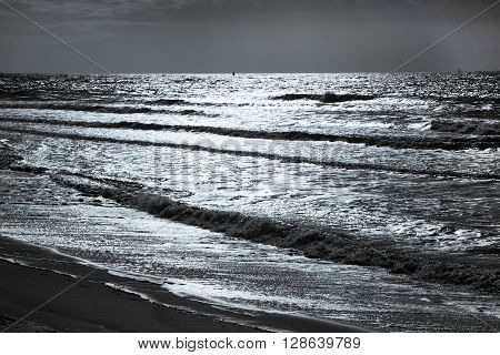 Tranquil beautiful sea scape evening sea with horizon. waves at North Sea