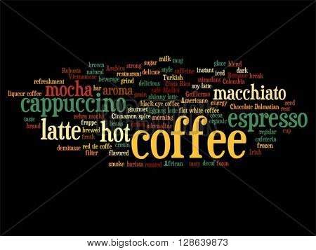 Vector concept conceptual creative hot coffee, cappuccino or espresso abstract word cloud isolated on background, metaphor to morning, restaurant, italian, beverage, cafeteria, break, energy or taste