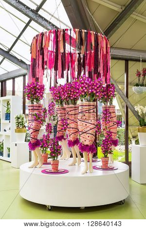 Lisse, Netherlands - April 4, 2016: Flower greenhouse orchid pavillion, floristic decor elements in dutch park spring garden Keukenhof, Lisse, Holland