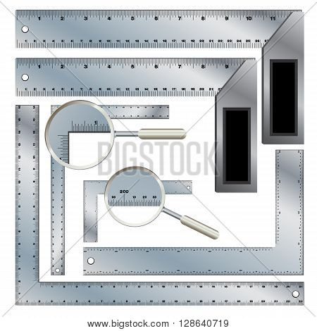 Ruler isolated on white background. Protractor Ruler set. Steel rafter and carpenter square isolated on white background. Object tool design on a white background.