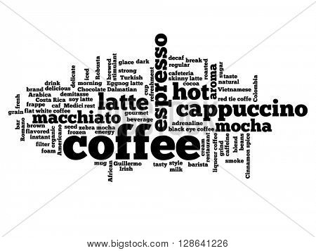 Concept conceptual creative hot coffee, cappuccino or espresso abstract word cloud isolated on background