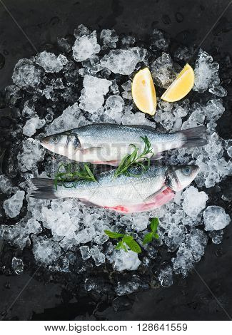 Raw seabass with lemon and rosemary on chipped ice over dark stone backdrop, top view
