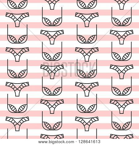 Fashion sexy lingerie seamless pattern. Fine line woman lingerie pastel pink stripes color vector pattern.
