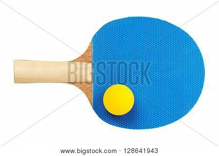 single ping pong racket with ball isolated on white