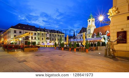 BRATISLAVA, SLOVAKIA - MAY 04, 2016: View of the main square in the old town of Bratislava, Slovakia on May 04, 2016.