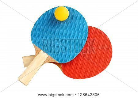 ping pong rackets with ball isolated on white