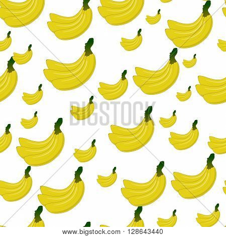 Vector Seamless background with yellow bananas on white. Cute vector banana pattern. Summer fruit illustration.