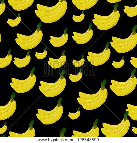 Vector Seamless background with yellow bananas on black. Cute vector banana pattern. Summer fruit illustration.