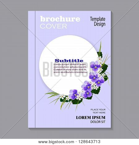 Modern vector template for brochure cover in A4 size. Corner composition of violets, white flowers, green leaves and herbs. White round banner with place for your text on blue background.