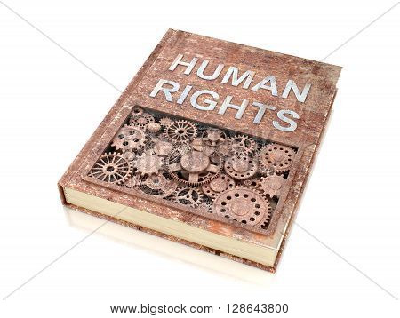 The concept rusty metal book on human rights.3d illustration.
